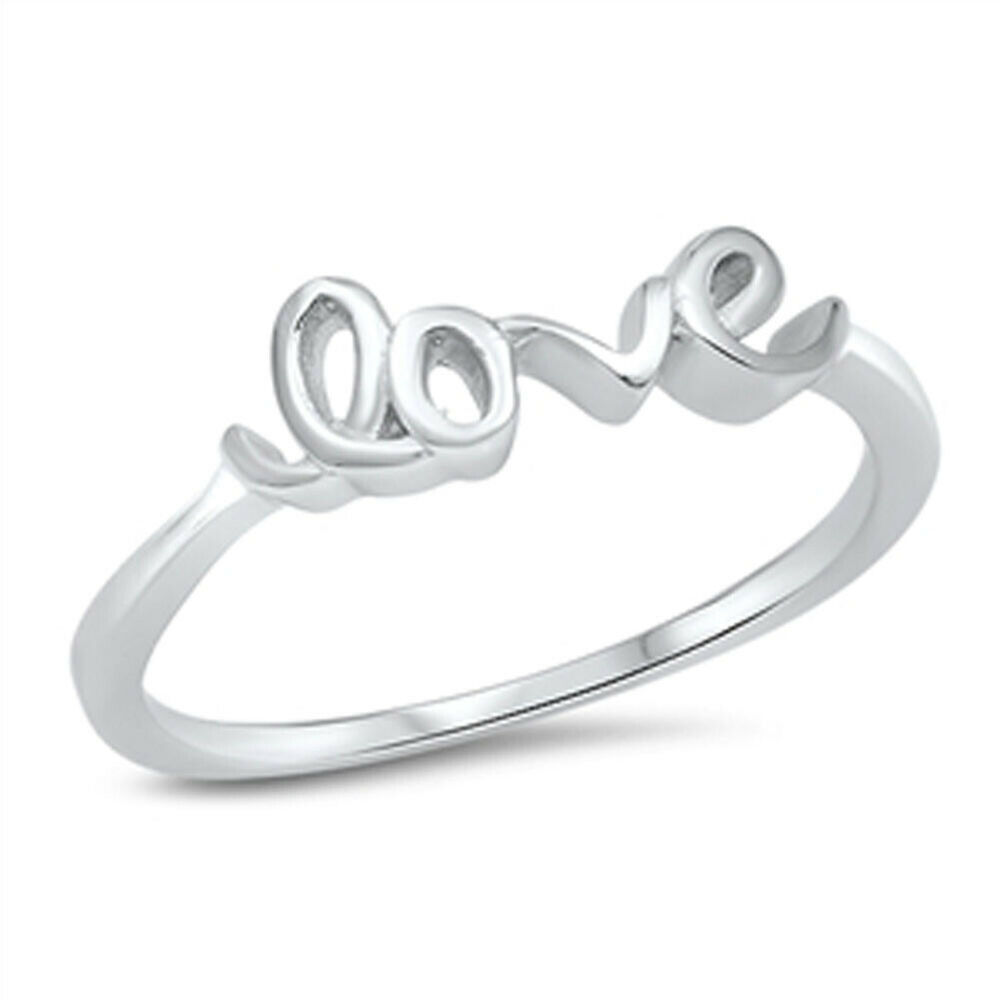 girl 39 s love word promise ring new 925 sterling silver. Black Bedroom Furniture Sets. Home Design Ideas
