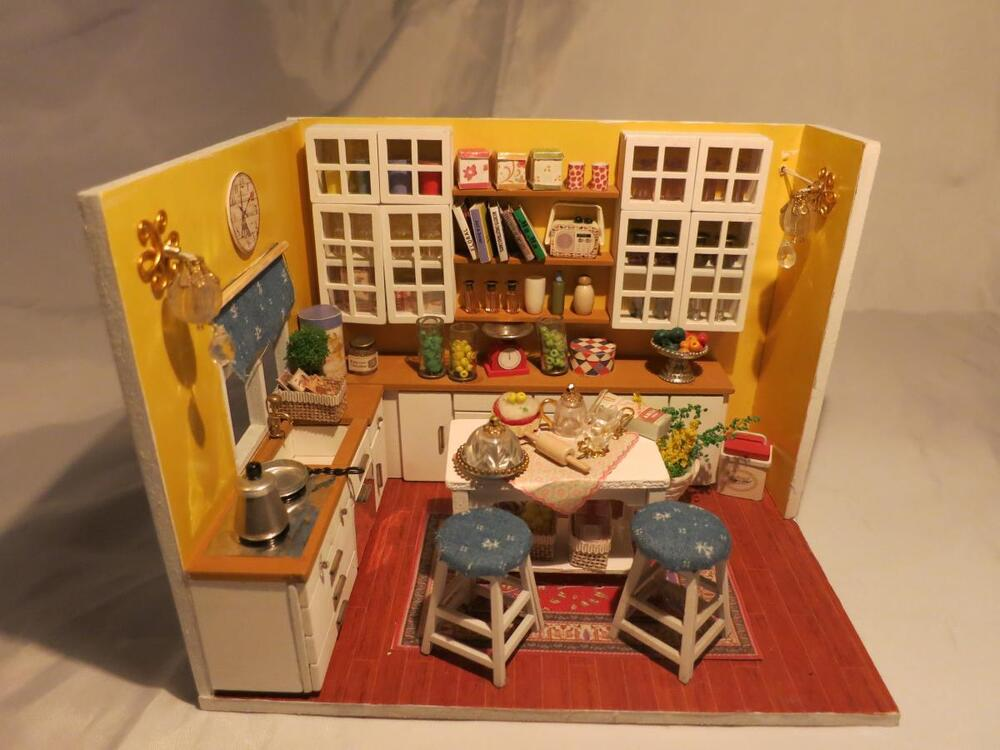 kits wood dollhouse miniature diy dolls house room with furniture cover sweetie ebay. Black Bedroom Furniture Sets. Home Design Ideas