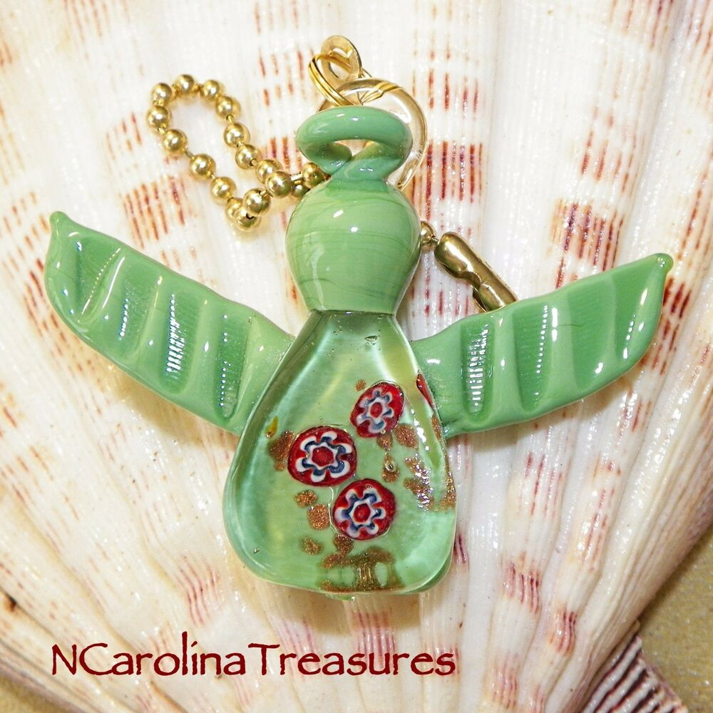Large Glass Ceiling Fan Pulls: GREEN CHRISTMAS ANGEL HOLIDAY MURANO GLASS CEILING FAN