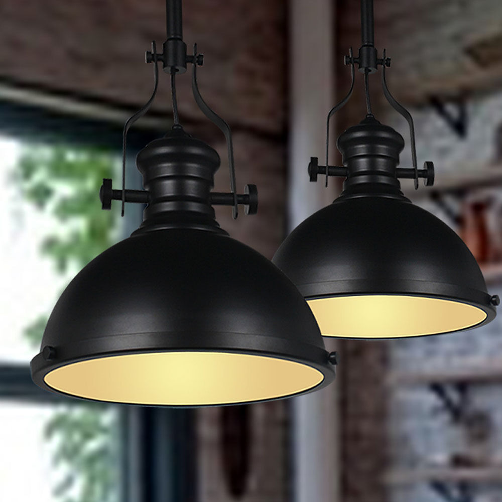 1 Pc Black Industrial Pendant Light Dome Shaped Bar Cafe