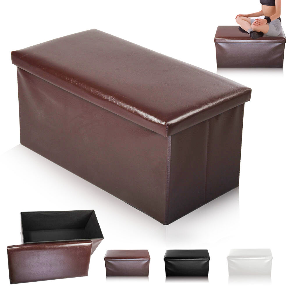 New Large Folding Storage Seat Stool Box Ottoman Faux