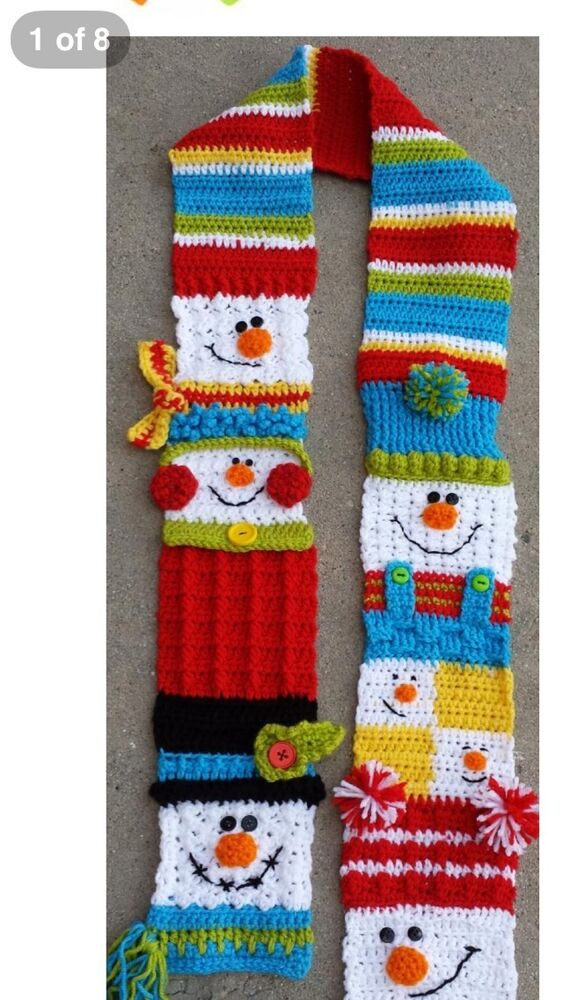 Free Crochet Patterns For Christmas Scarves : Crochet Snowman Scarf... 5x70 Long eBay