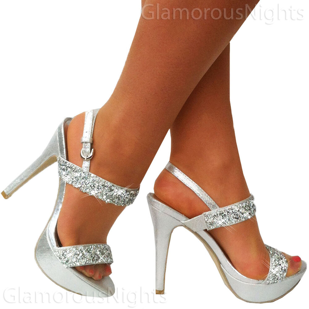 Onlineshoe Demi Wedge Peep Toe Chunky Heels - Strappy ... |Silver Glitter Strappy Heels