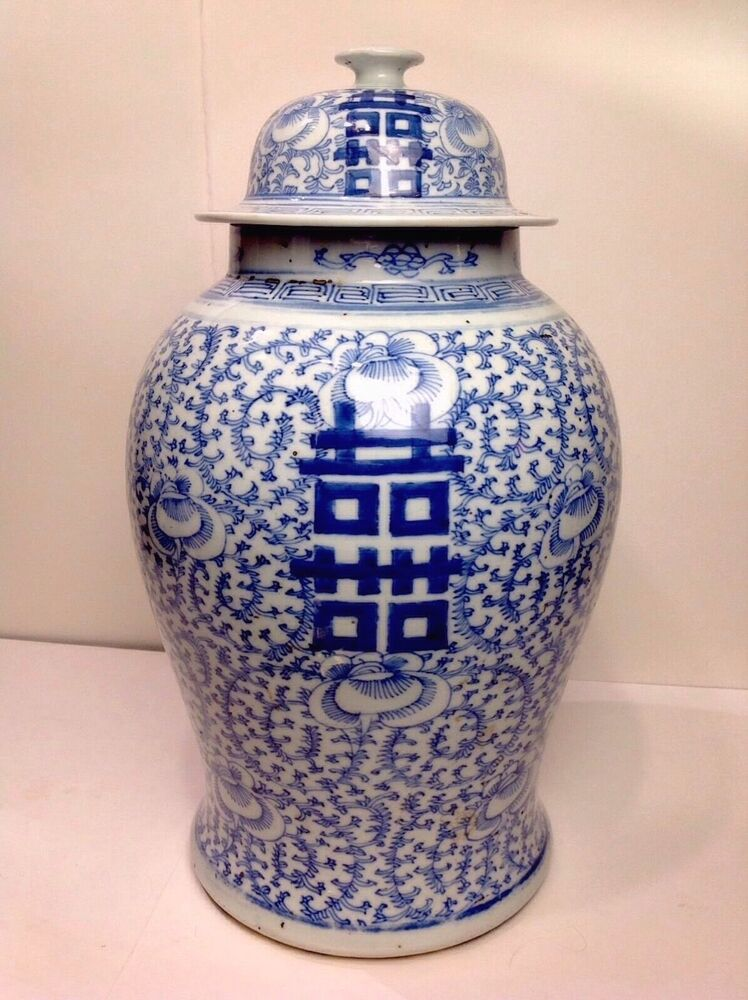 Authentic Antique Chinese Double Luck Qing Dynasty Blue