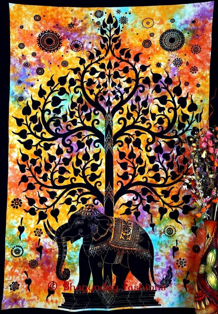 Indian Wall Hanging Elephant Tree of life Hippie Mandala ...
