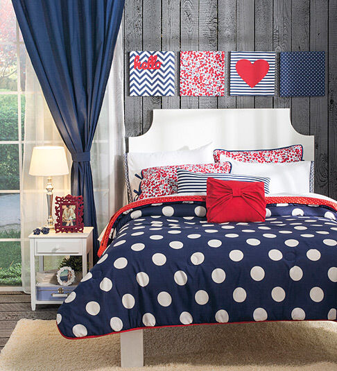 Girls teens twin queen and king size sail polka dot - Complete bedroom sets with curtains ...