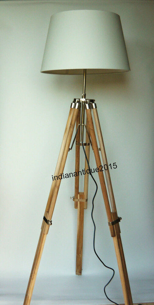 Collectible teak wood tripod floor lamp shade light for Tripod spotlight floor lamp in teak wood