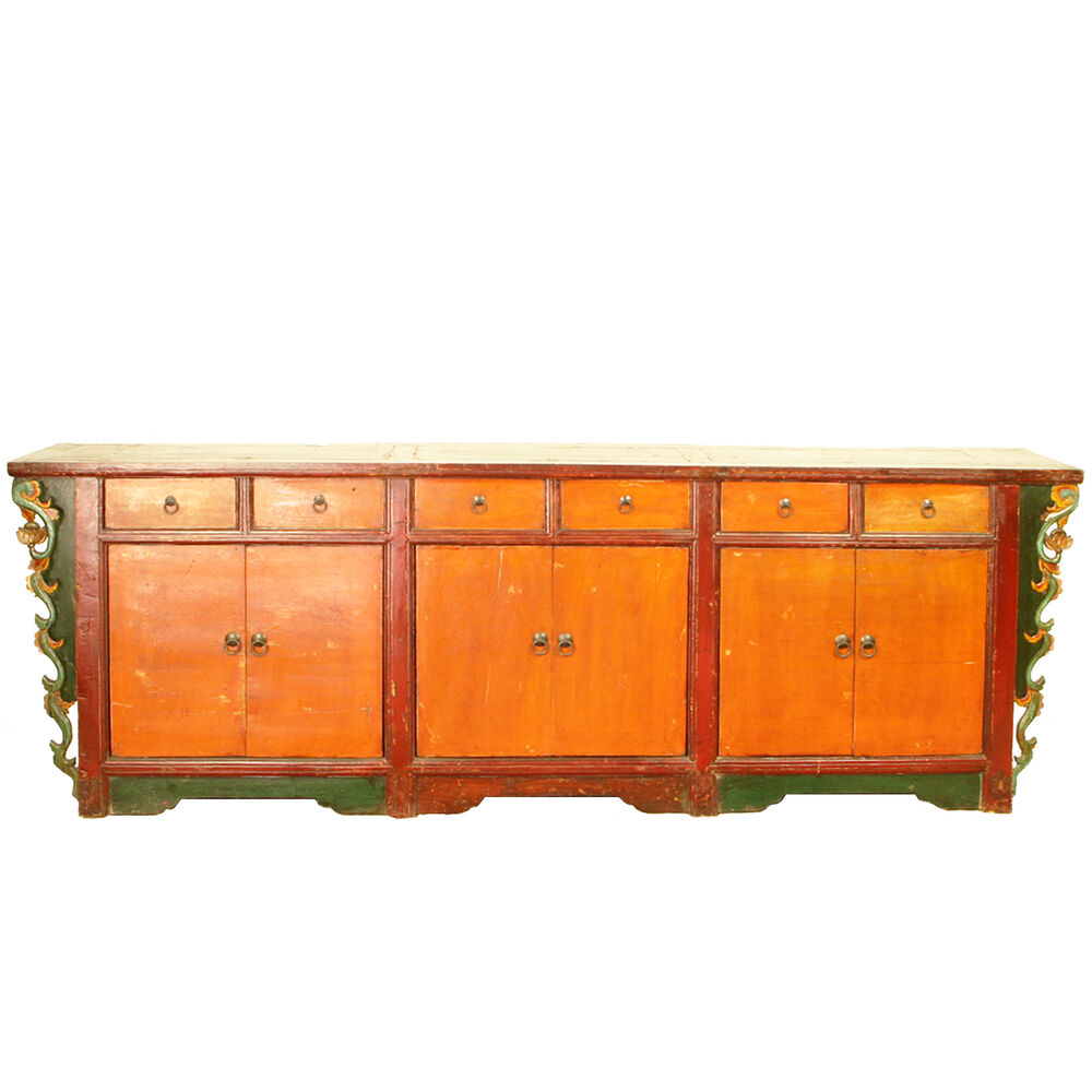 """Antique Chinese 103"""" Colorful Sideboard buffet Credenza"""