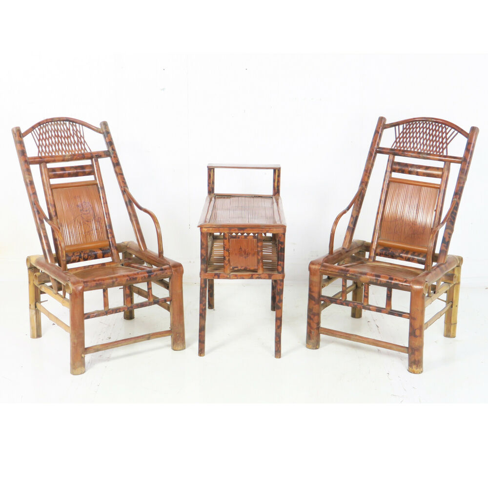 Antique Chinese Asian Woven Bamboo 3 Piece Tea Set Pair Of