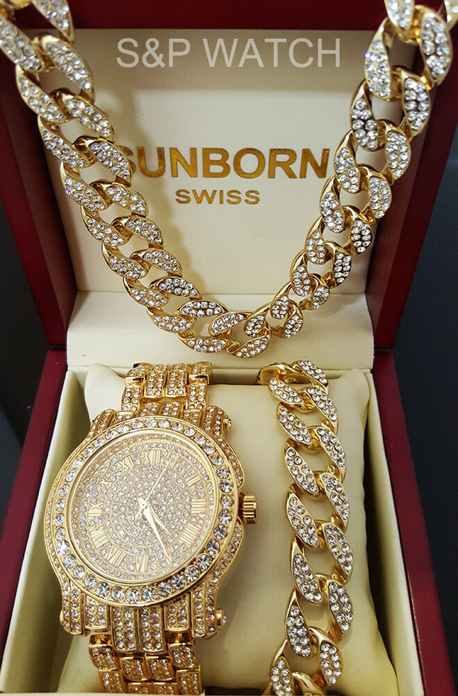 Men Hip Hop Iced Out Gold Tone Lab Diamond Watch Amp Cuban
