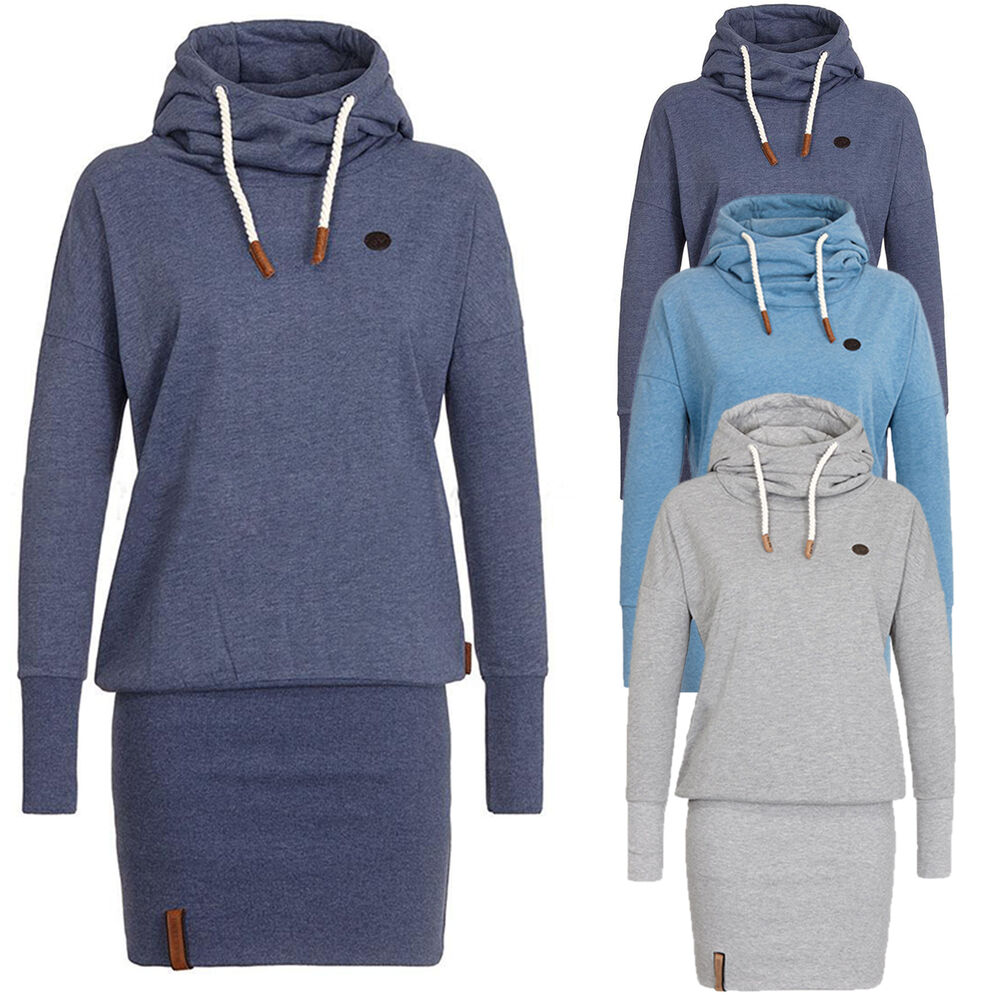 women 39 s funnel neck hooded sweatshirt casual hoodies bodycon tunic jumper dress ebay. Black Bedroom Furniture Sets. Home Design Ideas