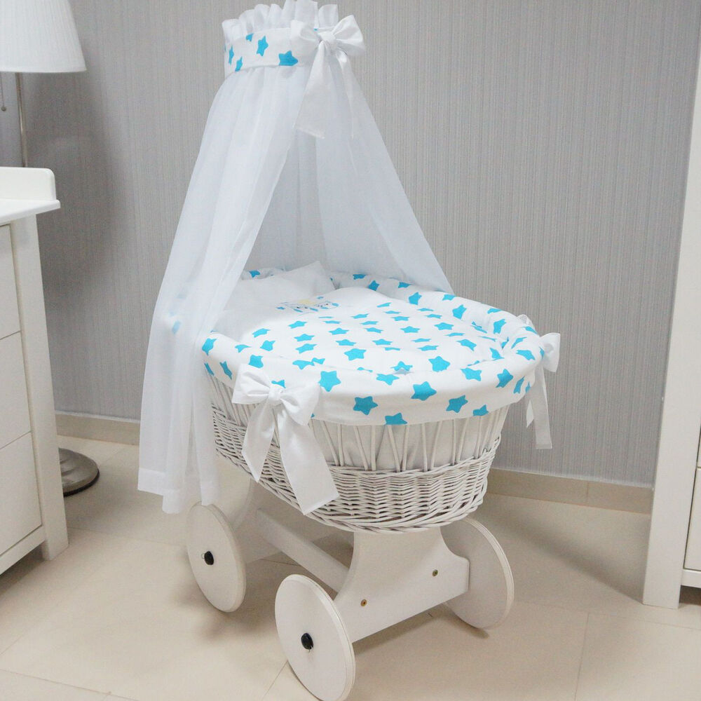 turquoise owls wicker moses basket stand wooden wheels. Black Bedroom Furniture Sets. Home Design Ideas