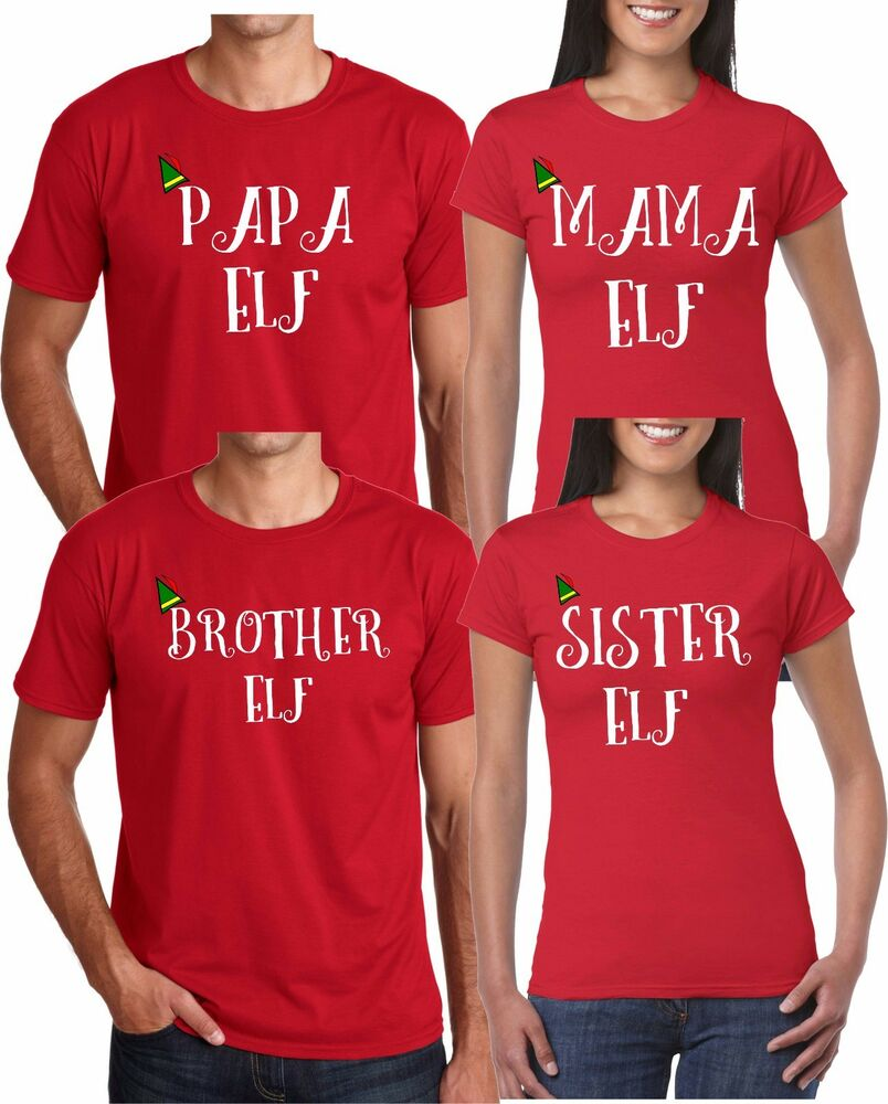 eea45bcd6 Mom And Dad And Family ELF Christmas Style funny cute Customized RED T- Shirts | eBay