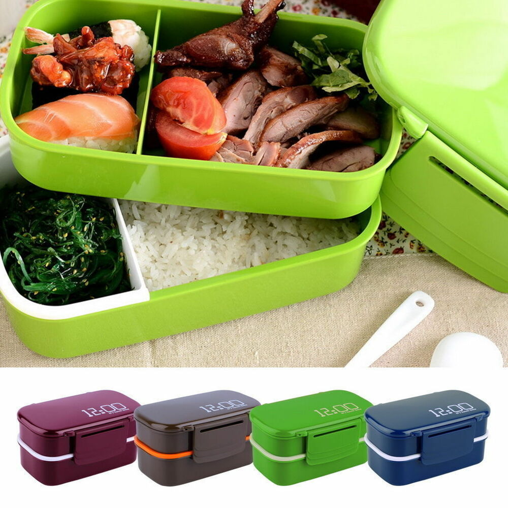 new portable 2 layers bento lunch box plastic food container lunch container l ebay. Black Bedroom Furniture Sets. Home Design Ideas