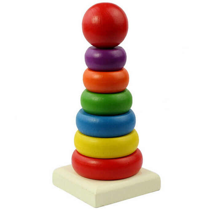 Kids Stacking Toys : New wooden rainbow tower ring baby toy kids stacking stack