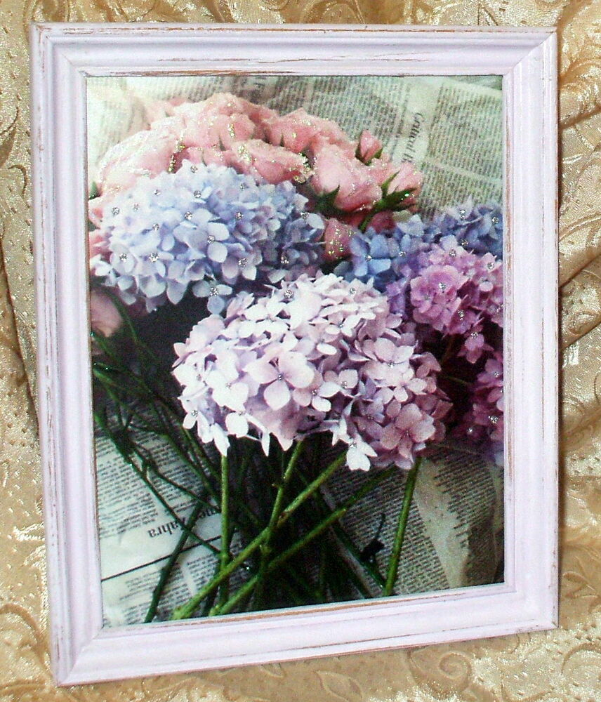 vintage shabby wood frame lavender pink rose hydrangea print chic cottage decor ebay. Black Bedroom Furniture Sets. Home Design Ideas