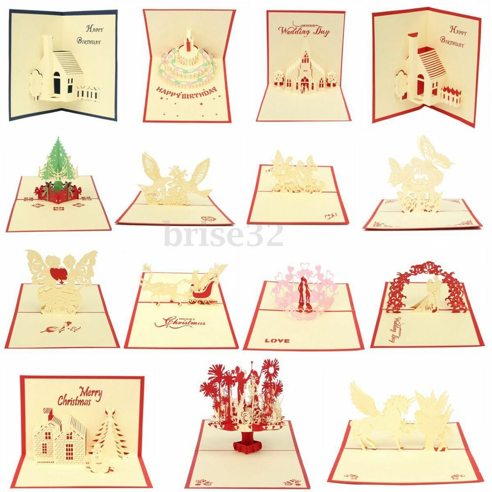 Origami Wedding Invitations: 3D Handmade Origami Greeting Cards Pop UP Invitations