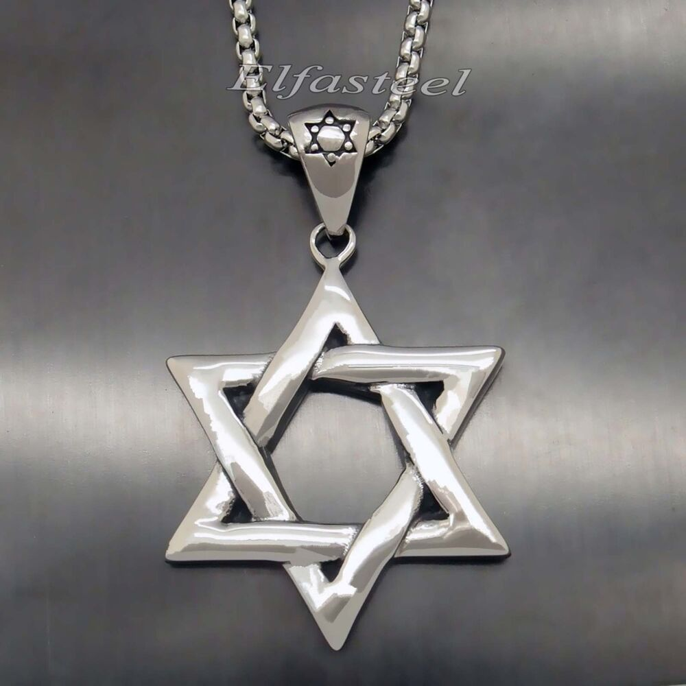 Men 39 s silver star of david solid 316l stainless steel for Star of david necklace mens jewelry
