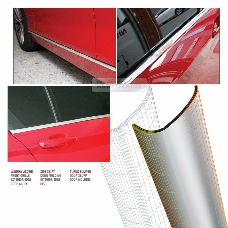 chrome silver flexible edge car accessory garnish trim cover for car exterior ebay. Black Bedroom Furniture Sets. Home Design Ideas