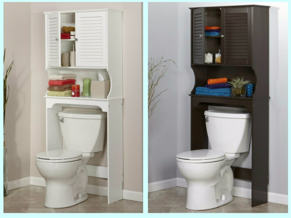Bathroom over the toilet space saver storage cabinet shelf for Over the toilet cabinet