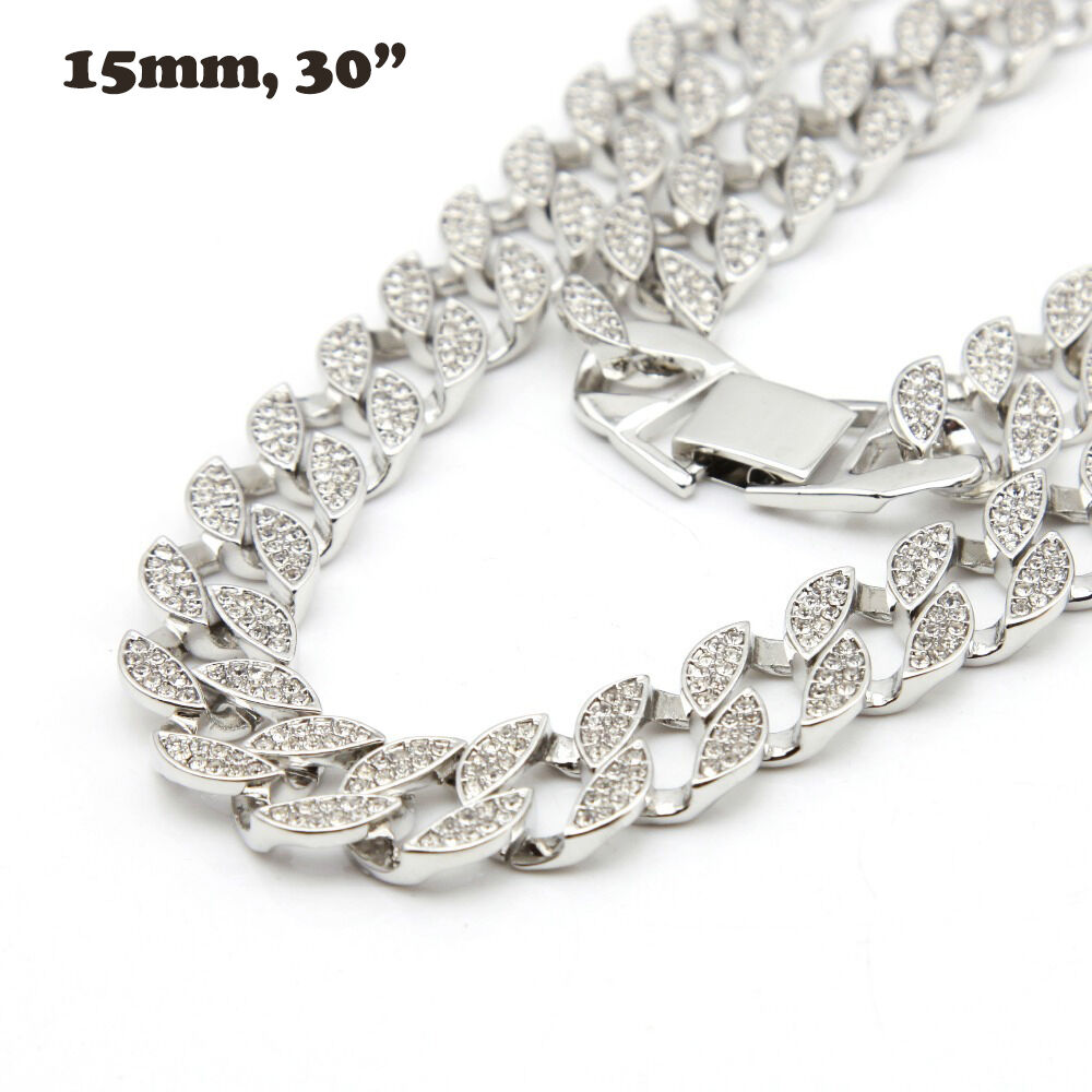 Mens White Gold Finish Full Iced Out Hip Hop Cz 30 Quot Miami