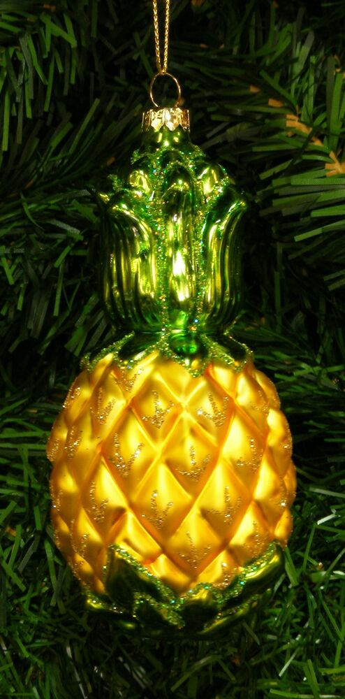 hand blown glass pineapple tropical fruit christmas tree ornament welcome symbol ebay