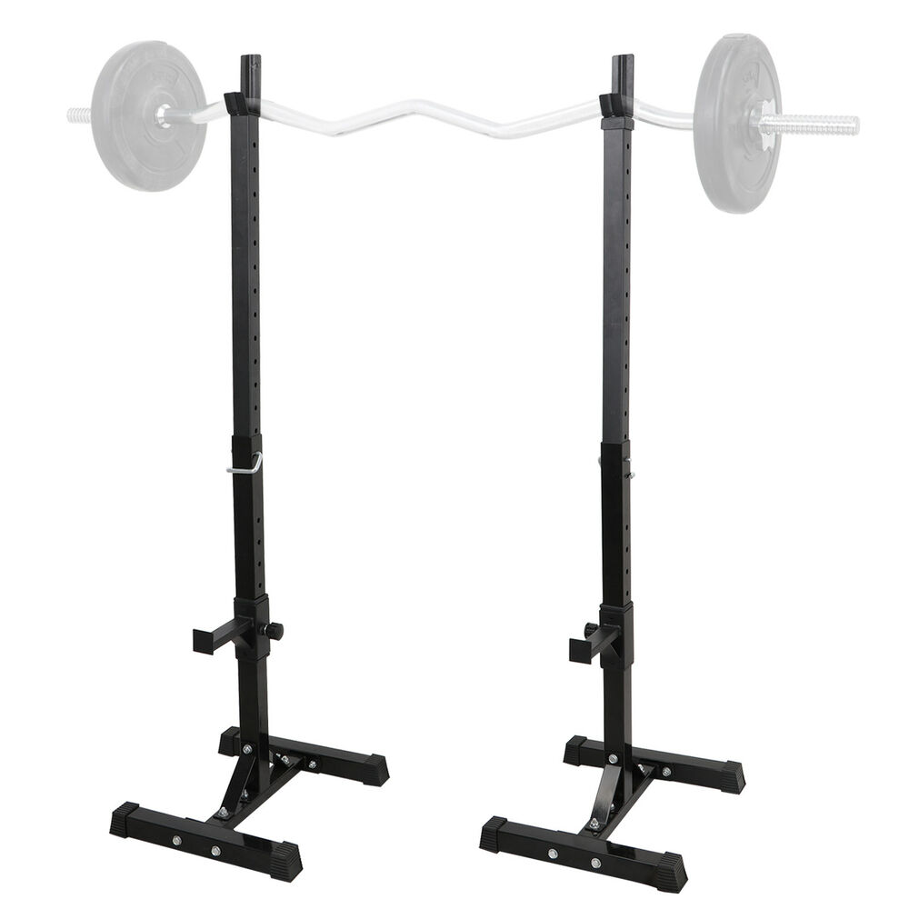 Bench Press Person: 2 Barbell Rack Stand Squat Bench Press Home GYM Weight