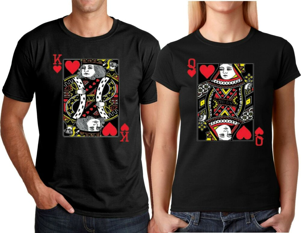 King and Queen Cards Couple matching funny cute T-Shirts S ...