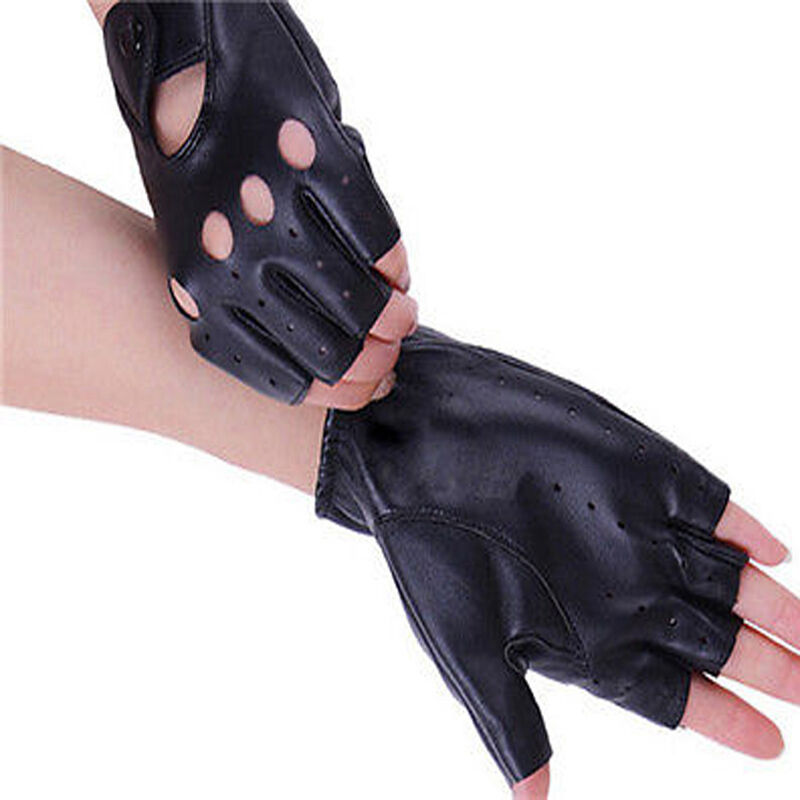 PU Leather Women Half Finger Gloves Driving Cycling Sports ...