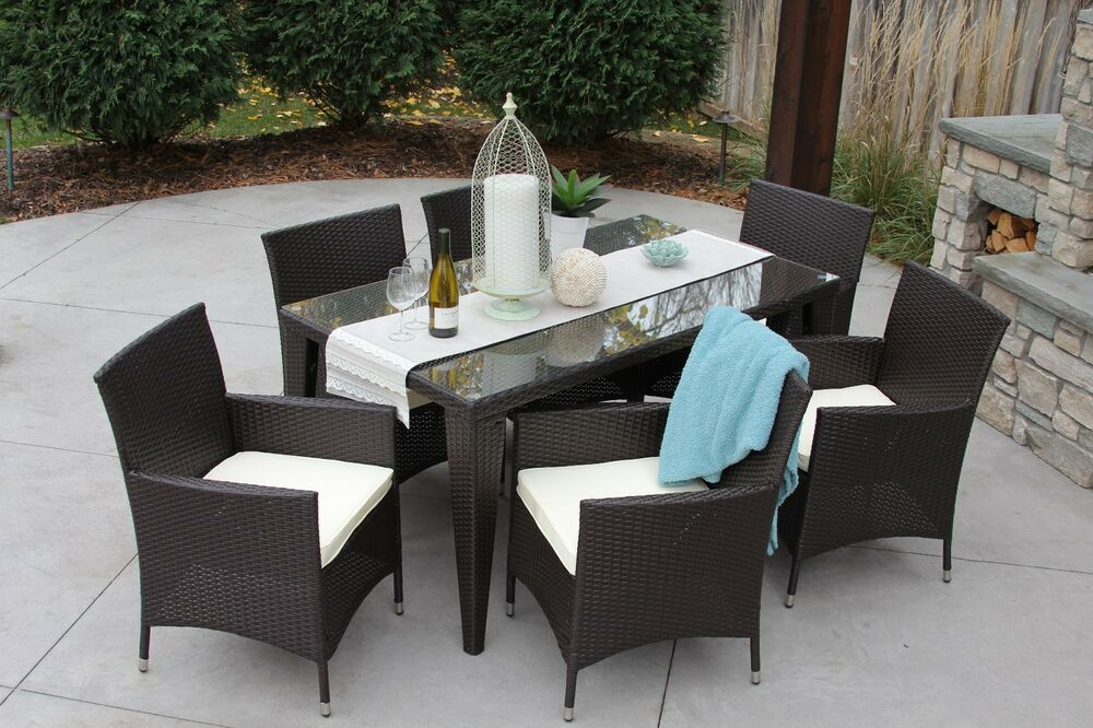 7 pc standard modern outdoor all weather wicker table for Modern patio dining furniture