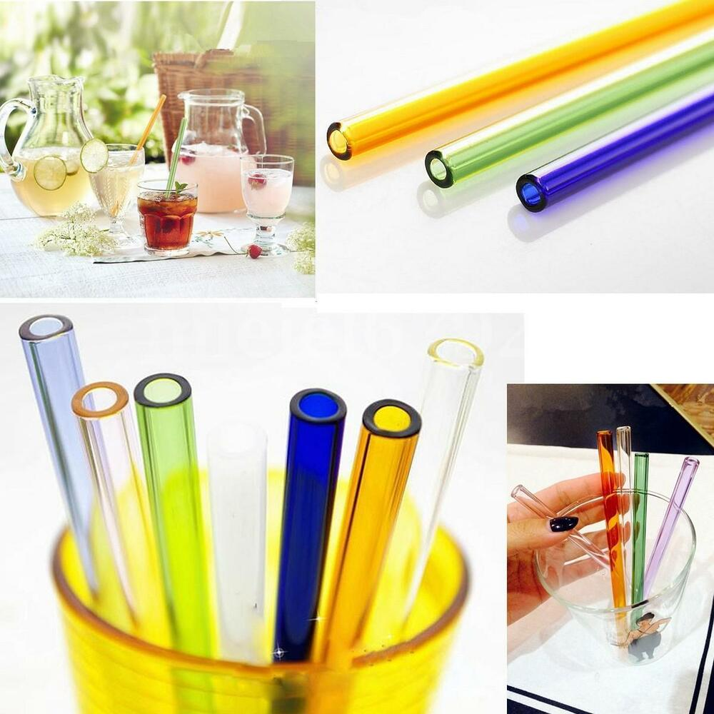 Reusable Colorful Glass Drinking Thick Straws Wedding