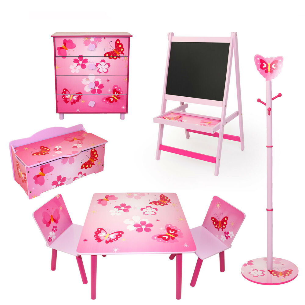 kinderm bel kinderzimmer m bel sitzgruppe spielzeugkiste tafel schmetterling ebay. Black Bedroom Furniture Sets. Home Design Ideas