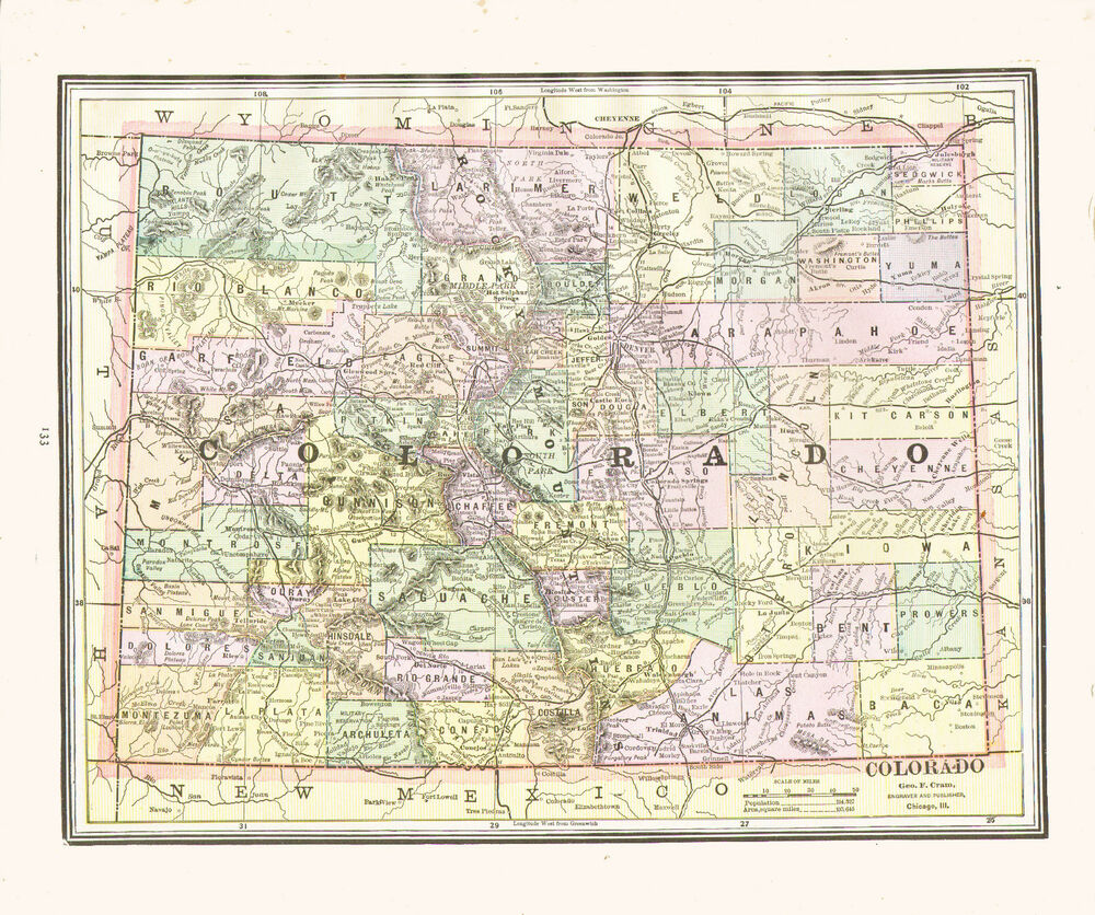 1890 Color Maps of COLORADO and NEW MEXICO TERRITORY - Two Maps on ...