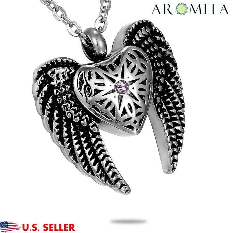 Angel Wing Urn Necklace: VALYRIA NEW Angel Heart & Wings Cremation Jewelry Keepsake