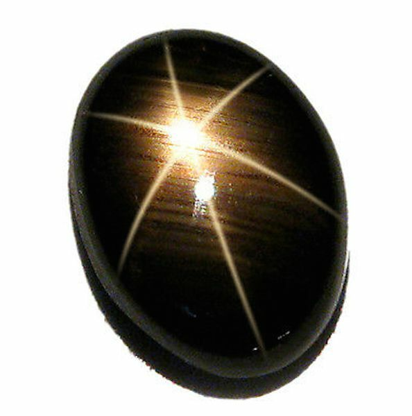 Natural Black Star Sapphire Oval Cabochon 6 Rays Loose