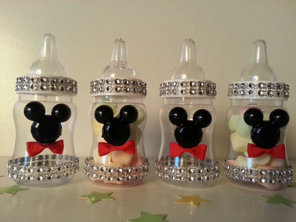Baby Mickey Mouse Decorations For A Baby Shower Part - 30: 12 Mickey Mouse Fillable Bottles Baby Shower Favors Prizes Game Boy  Decorations