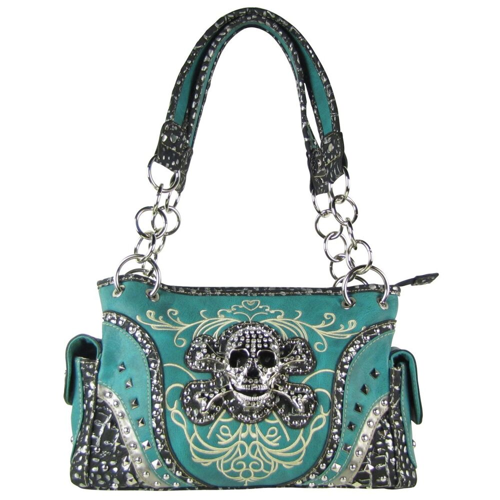 TURQUOISE SKULL DESIGN LOOK SHOULDER HANDBAG CONCEALED ...