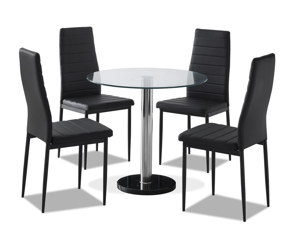 Round Clear Glass Dining Table Set and 4 Black Faux ...