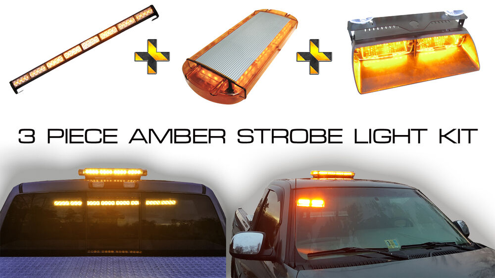 Amber Strobe Magnetic Beacon Light Bar And Rear Window