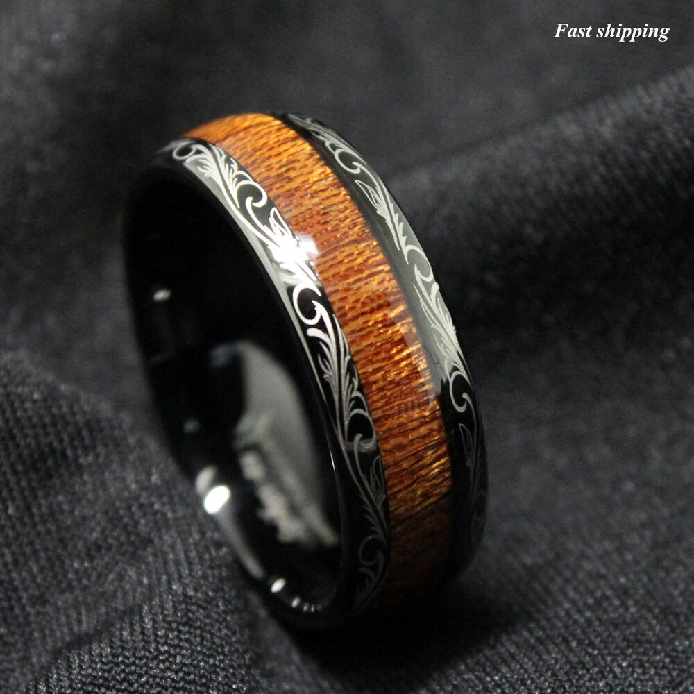 Black Tungsten Carbide Ring Koa Wood Inlay Dome Wedding