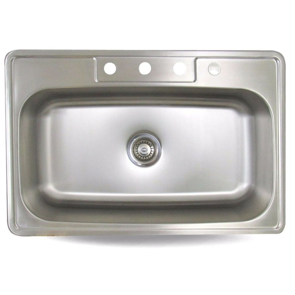 33 X 22 X 9 Top Mount Drop In Stainless Steel Single Bowl Kitchen Sink 18g Ebay