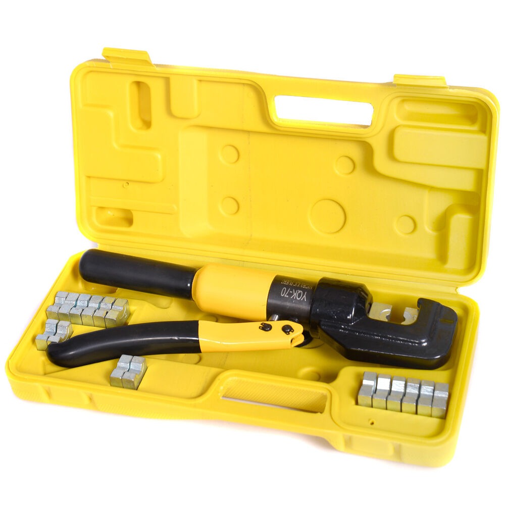10 ton hydraulic wire terminal crimper battery cable lug crimping tool w dies ebay. Black Bedroom Furniture Sets. Home Design Ideas