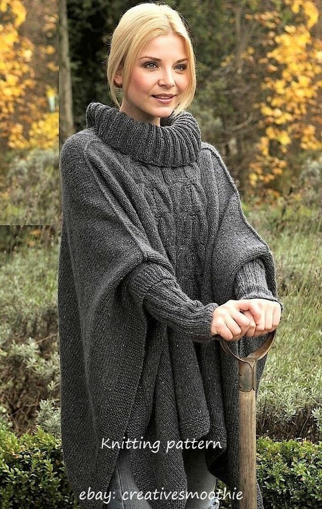 Knitting Pattern Aran Cape : (3) Knitting Pattern for Womans Aran Cable Poncho with Cuffs eBay
