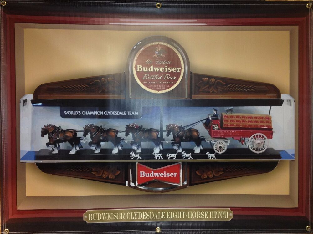 Budweiser Clydesdale Replica Banner Sign Large Shadowbox