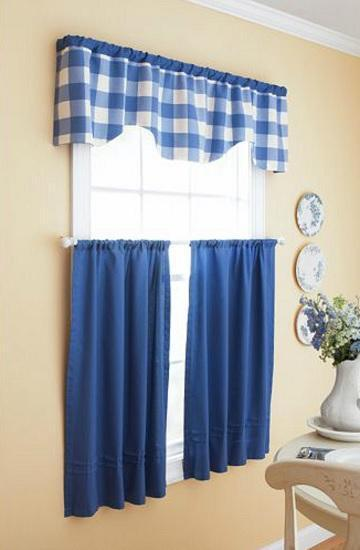 Blue Country Cottage Plaid Kitchen Window Curtains Tier Valance Set Ebay