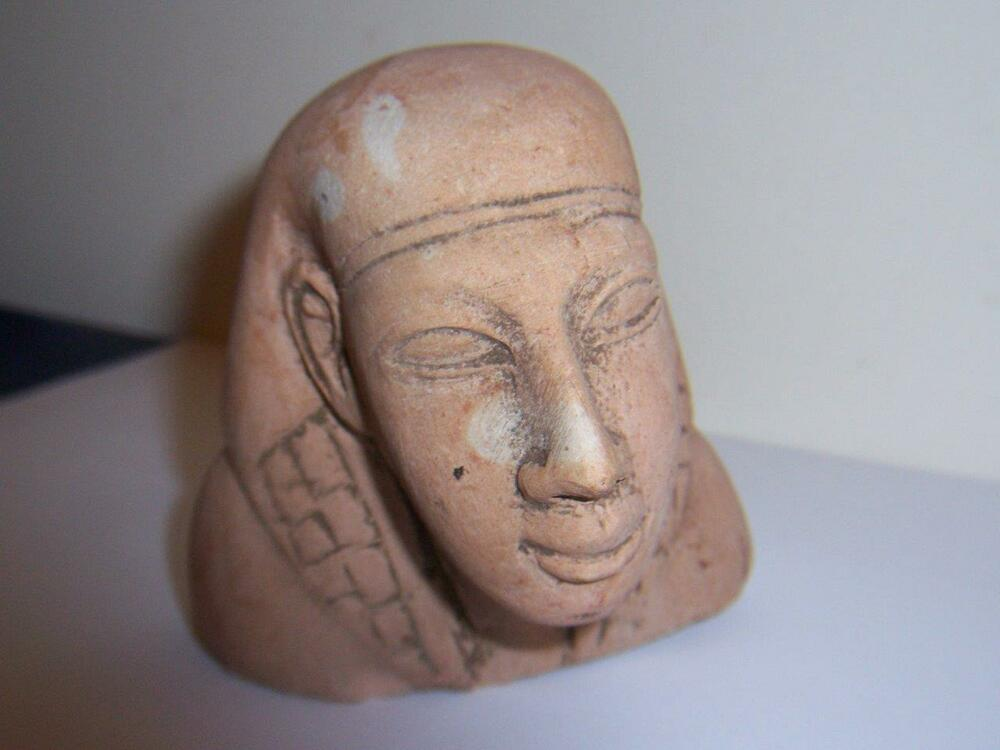 Antique stone carved egyptian pharoah figural head bust
