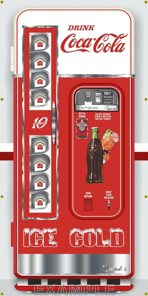 Antique Vending Coke Coca Cola Soda Machine Style Banner
