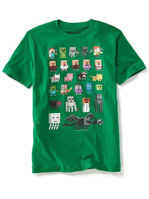 Nwt old navy boys minecraft characters creeper tee t shirt for Mine craft t shirt