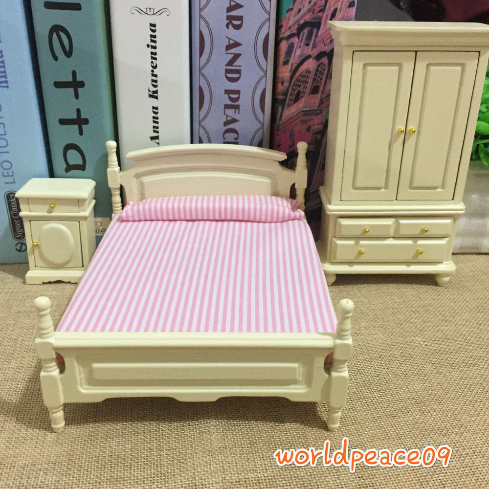 3pcs set dollhouse miniature wooden bedroom cream 1 12 scale model