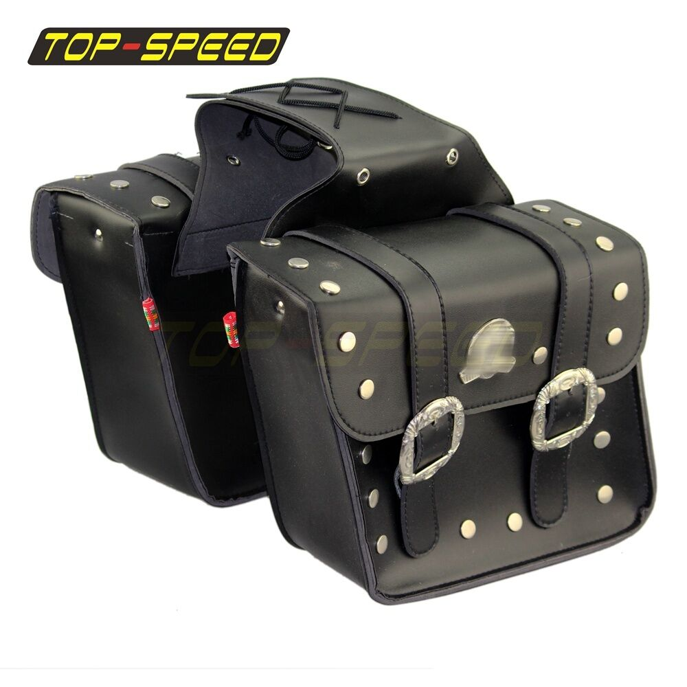 Motorcycle pu leather classic saddlebags saddle bags tool for Motor cycle saddle bags